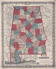 1859 Map of Alabama counties