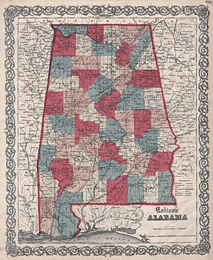 15th Regiment Alabama Infantry - 1859 map of Alabama counties.  The 15th Alabama was recruited from counties in the southeastern portion of the state.