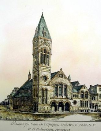 R. H. Robertson - Robertson's 1886 designs for a church on the Upper East Side of Manhattan. The main church was never built, but the chapel was, as Knox Presbyterian Church, now St. John the Martyr Roman Catholic Church (Manhattan).