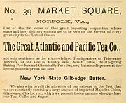 1888 Great Atlantic and Pacific Tea Co Advert for Norfolk