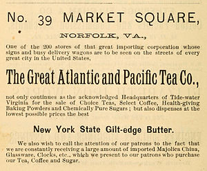 The Great Atlantic & Pacific Tea Company - Image: 1888 Great Atlantic and Pacific Tea Co Advert for Norfolk
