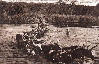 Dorsland Trek - Boer wagons crossing the Cunene River