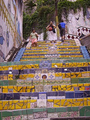 stairs in the lapa district, Rio de Janeiro, B...