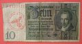 1929 SERIES 10 REICHSMARK PAPER BILL OVERSTAMPED WITH RED INK WAFFEN SS STAMP AND REUSED DURING WORLD WAR II, side A - Flickr - woody1778a.jpg