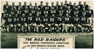 Texas Tech Red Raiders football - Image: 1954 Texas Tech Footbal Gator Bowl Team