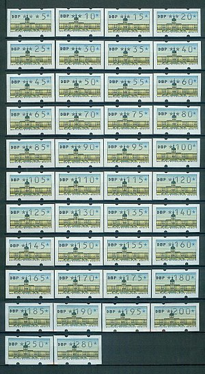 Variable value stamp - A selection of variable value stamps showing the range of values that may be selected.