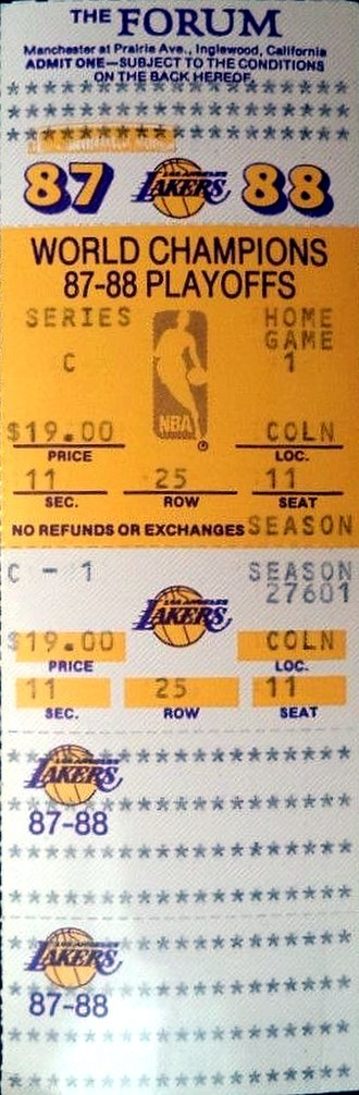 1987–88 NBA season - A ticket for Game 1 of the 1988 Western Conference Finals between the Los Angeles Lakers and the Dallas Mavericks.