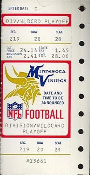 History of the Minnesota Vikings - A ticket for the 1988 NFC Wildcard Game between the Vikings and the Rams.