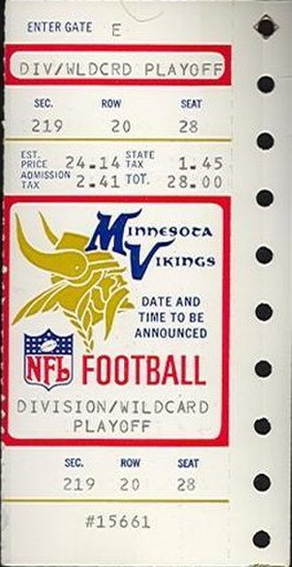 1988–89 NFL playoffs - A ticket for the NFC Wild Card Game between the Vikings and the Rams.