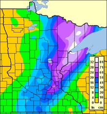 List Of Minnesota Weather Records Wikipedia - Average yearly snowfall map
