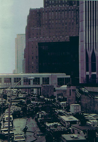 1993 World Trade Center bombing - Image of the procession of rescue vehicles responding to the 1993 World Trade Center bombing. One World Trade Center is on the far right of the frame.