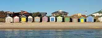 Edithvale, Victoria - Boatsheds on the beach at Edithvale, Victoria, Australia