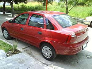 2006 Corsa saloon shown in red colour available in Latin America.jpg