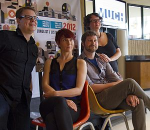 2012 Polaris Music Prize - The presenters of the longlist; from left to right, Francois Marchand, Hannah Georgas, Dan Mangan and Veda Hille.
