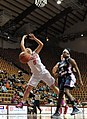 2013 Virginia Tech - Robert Morris - Vanessa Panousis going for ball.jpg