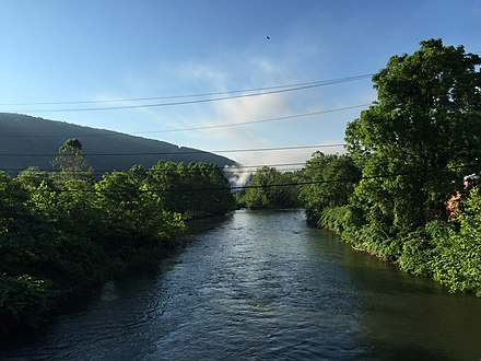 The North Branch Potomac River near Piedmont, WV 2016-06-18 07 22 42 View east down the North Branch Potomac River from the Piedmont-Westernport Bridge between Piedmont, Mineral County, West Virginia and Westernport, Allegany County, Maryland.jpg