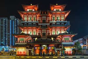 Buddha Tooth Relic Temple and Museum - Night shot of The Buddha Tooth Relic Temple from South Bridge Road