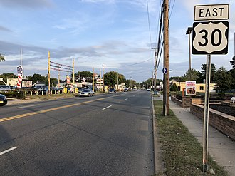 Clementon, New Jersey - U.S. Route 30 eastbound in Clementon