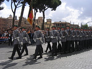 Dress uniform - German Army Guard Battalion on parade in Rome, Italy
