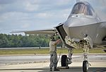 33rd AMXS Airman performs hot pit refuel on F-35A Lightning II at Eglin Air Force Base May 2016.jpg