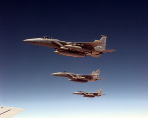 4404th Wing (Provisional) - 4404th Wing (Provisional) F-15C Eagles fly a routine patrol mission over Southern Iraq on April 4, 1998, in support of Operation Southern Watch.