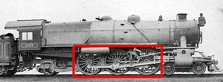 The driving wheels (boxed) on a 4-6-2 locomotive. 462driving.jpg