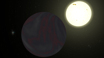 English: Simulation of the extrasolar planet 5...