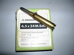6.5×54mm Mannlicher–Schönauer - A commercial cartridge atop a 10-round box