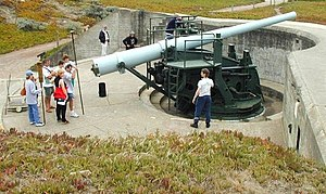 6-inch gun M1897 - 6-inch gun M1905 on disappearing carriage M1903, Battery Chamberlin, Fort Winfield Scott, Presidio of San Francisco