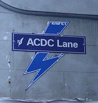 The street sign for ACDC Lane.