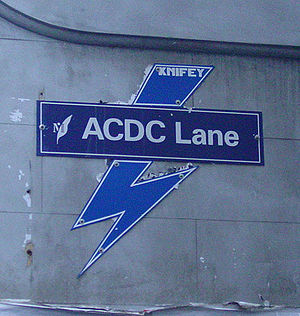 Lanes and arcades of Melbourne - Sign at ACDC lane