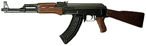 Provisional Irish Republican Army campaign - An AK-47 rifle, over 1,000 of which were smuggled by Muammar Gaddafi to the Provisional IRA in the 1980s