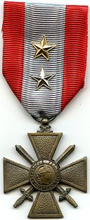 AVERS Croix de Guerre TOE France 2 citations