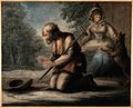 A blind man on his knees begging, a woman and dog behind him Wellcome V0015908.jpg