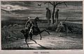 A man rides past a gibbet. Lithograph by W. Clerk. Wellcome V0042290.jpg