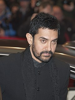 Aamir Khan is looking away from the camera