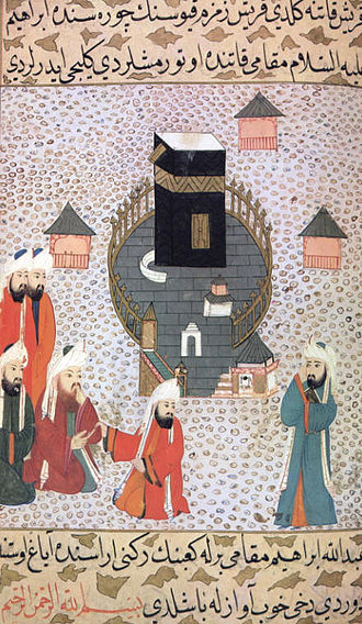 Abdullah ibn Masud - Abdullah ibn Masud reciting the Qur'an at the Ka'aba before members of the tribe of Quraish; miniature from the Siyer-i Nebi