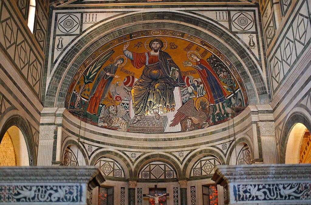 Mosaico absidale con Santa Maria, il Cristo Pantokrator e San Miniato, San Miniato al Monte, Firenze