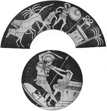 two images from a bowl. The outside strip shows an armoured man dragging a boy towards an altar. Behind them two horses run away. In the inner illustration, they are at the altar. The man has his sword raised ready to swing. He holds by the hair the boy who is struggling to break free.