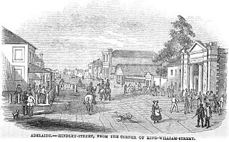 Hindley Street, Adelaide - Hindley Street, 1849, from the corner of King William Street.