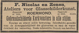 Advertentie F. Nicolas en Zonen in De Tijd, 6 juli 1899
