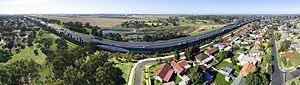 Laverton, Victoria - Aerial panorama of the M1 freeway along Laverton's southern perimeter