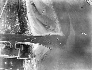 HMS Iphigenia (1891) - Aerial photograph showing the blockships sunk after the Zeebrugge Raid. HMS Iphigenia is second from left