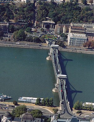 Chain Bridge (Budapest) - Aerial view of the Chain Bridge