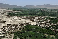 An aerial view of Mohammad Agha District, Logar Province