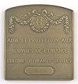 Aide et Protection aux Oeuvres de l'Enfance (Colonies d'Enfants Débiles), plaquette by Pierre Theunis, Belgium, (1919), Coins and Medals Department of the Royal Library of Belgium, 2Lef88-89 (verso).jpg