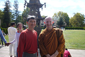 Ajahn Amaro - With lay visitors in US, 2007