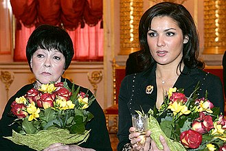 Bella Akhmadulina - Bella Akhmadulina and Anna Netrebko at the Russian State Prize ceremony at the Kremlin