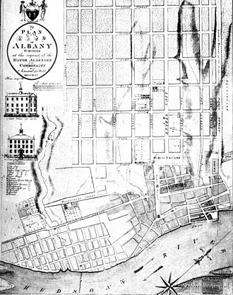 Streets of Albany, New York - Simeon De Witt's 1794 grid plan for Albany, north is to the right.
