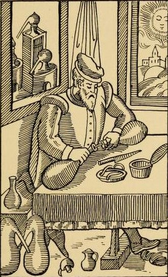 Lute (material) - Alchemist fixing his apparatus, with luting box and knife on the table (engraving, 1576)